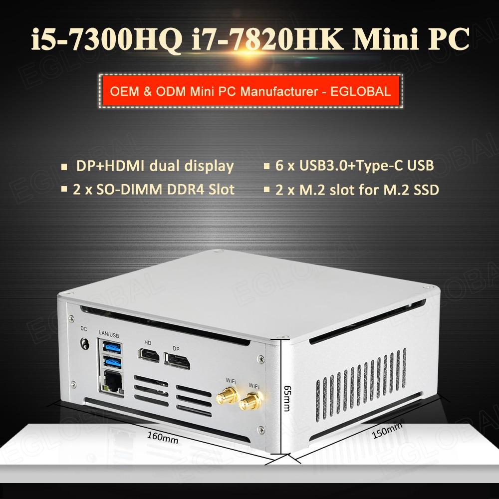 WORK At Home High-Performance Mini Gaming PC Core I5 7300HQ I7 7820HK 64GB DDR4 Windows 10 Pro Computer M.2 NVME SSD