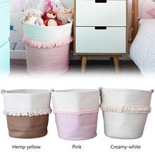 Large Capacity Woven Tassel Laundry Basket For Dirty Clothes Toys Baskets Bag Organizer Kids Home Storage Washing Organization(China)