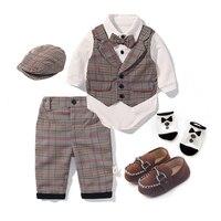 2019 Autumn Toddler Boys Clothing Set Baby Cotton Plaid Children Kid Clothes Gentleman Suits Wedding Birthday Party Costume