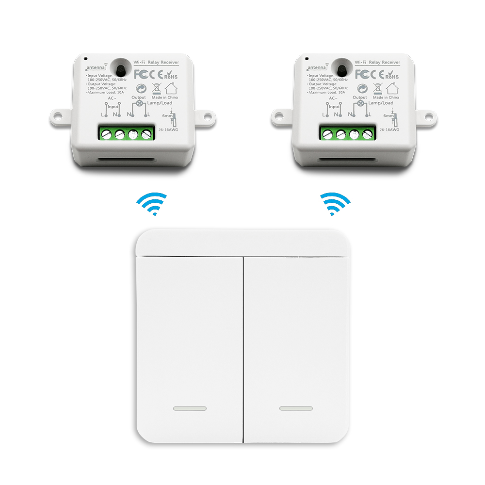 EU Wireless Wall <font><b>Switch</b></font> Lighting Remote Control up to 30m 1 <font><b>Gang</b></font> <font><b>2</b></font> <font><b>Gang</b></font> Tiny Receiver 10A Easy to Hide Durable 10 years No <font><b>WiFi</b></font> image