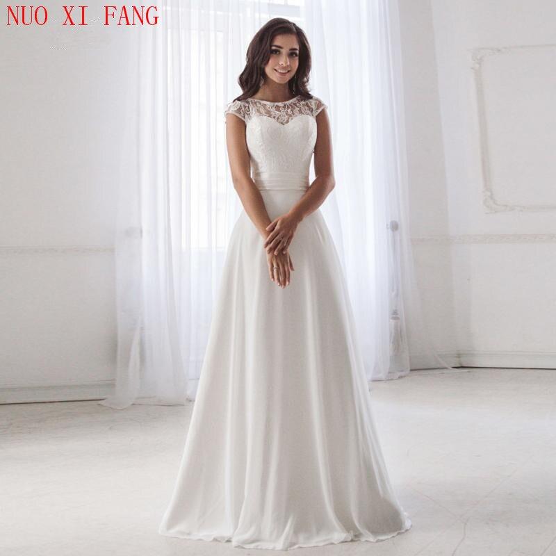 2020 Scoop Neck Lace Wedding Dresses Sleeveless Pleats Belt Chiffon Beach Wedding Bridal Gown Robe De Soiree Open Back Casamento