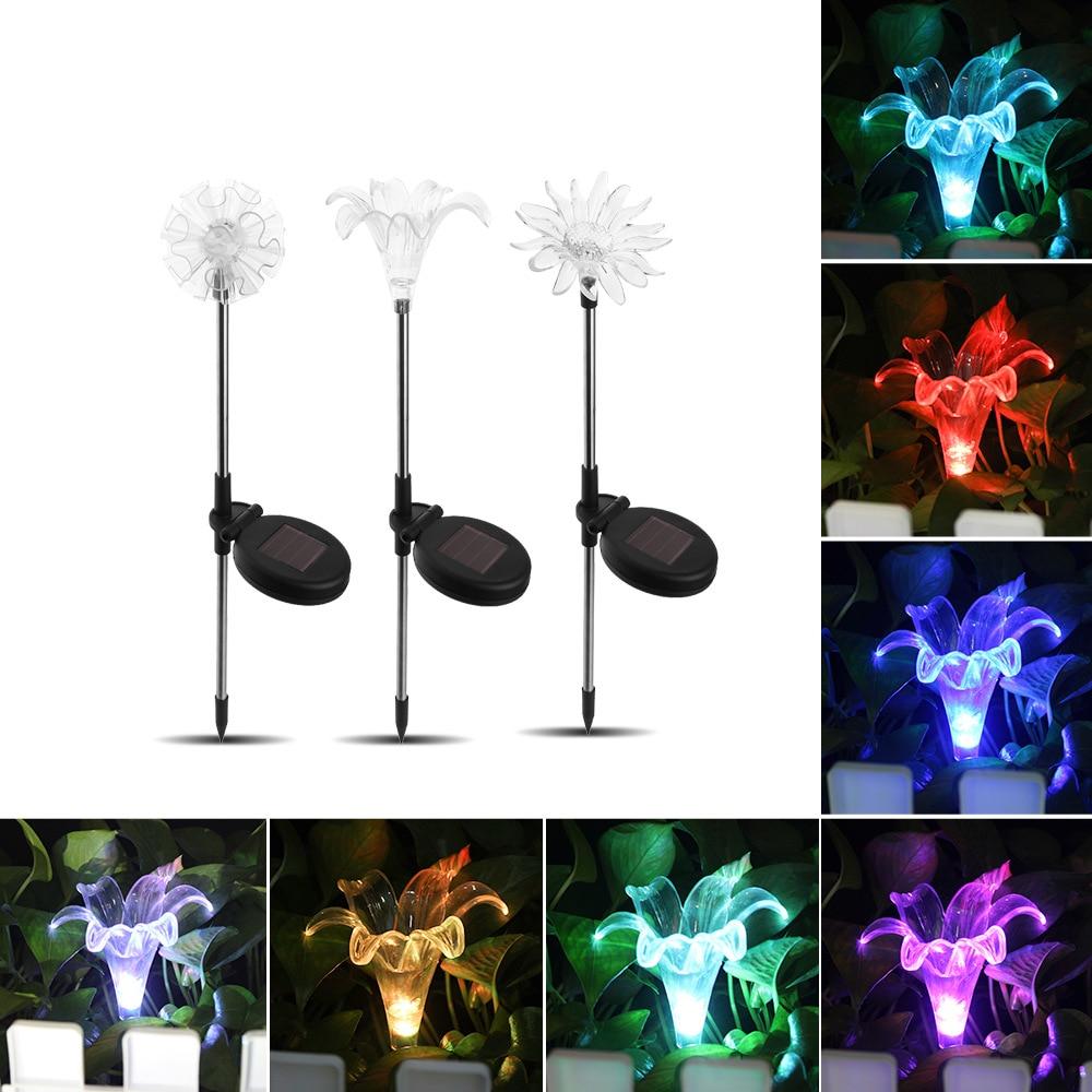 3pcs Solar LED Lawn Light Outdoor Garden Light Lily Dandelion Sunflower Inserted Ground Light LED Lawn Lamps     - title=