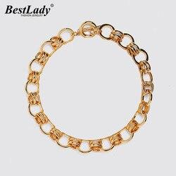 Best lady ZA золотого цвета ожерелье для женщин свадебные ручной работы металлические Богемские ожерелья ювелирные изделия девушки вечерние По...