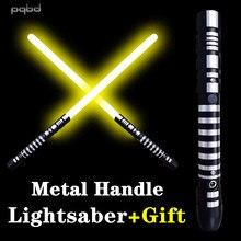 Pqbd sabre de luz única cor metal lidar com espada sabre personalizado led força luz brinquedo das crianças presentes cosplay