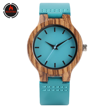REDFIRE Stylish Blue Simple Dial Wood Watch Women's Watches Quartz Genuine Leather Strap Cool Casual Ladies Wooden Clock reloj wooden couple watch quartz leather band handmade walnut wood watches hollow dial valentine s day lover gift reloj para parej