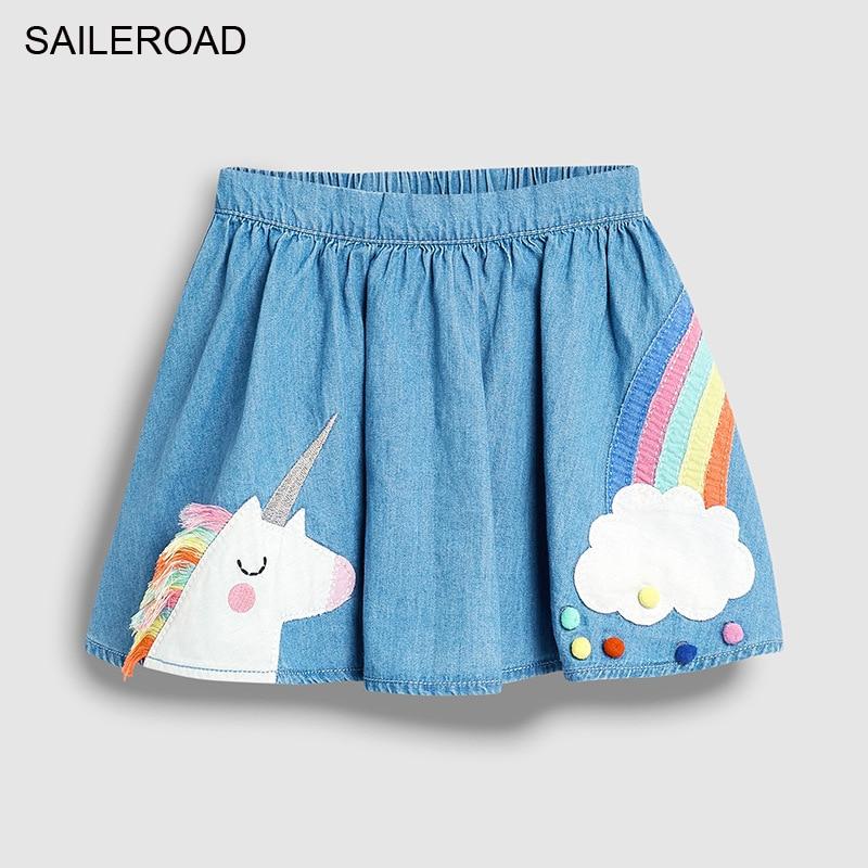 SAILEROAD Baby Girl Clothes Unicorn Rainbow Appliques Cotton Mini Skirts for Kids Autumn  Children's Tutu Skirt 1