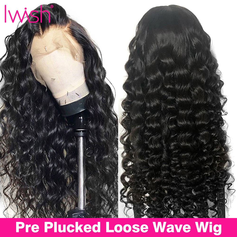 Loose Wave Wigs Lace Front Human Hair Wigs Pre Plucked With Baby Hair Iwish 150% Density Remy Brazilian 13x4 Lace Front Wig