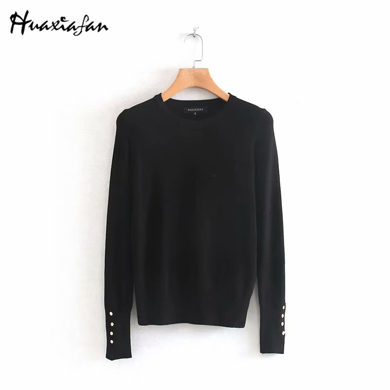 Huaxiafan Women Winter Sweater Stretchy Solid Knitted Autumn Thin Pullover O Neck Button Jumper Sweaters Female Casual Tops Pull