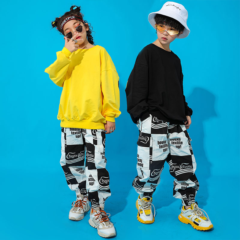 Jazz Dance Costumes Kids Printing Hip Hop Rave Outfit Street Dance  Practice Performance Clothing Child Sport Clothes DC3222