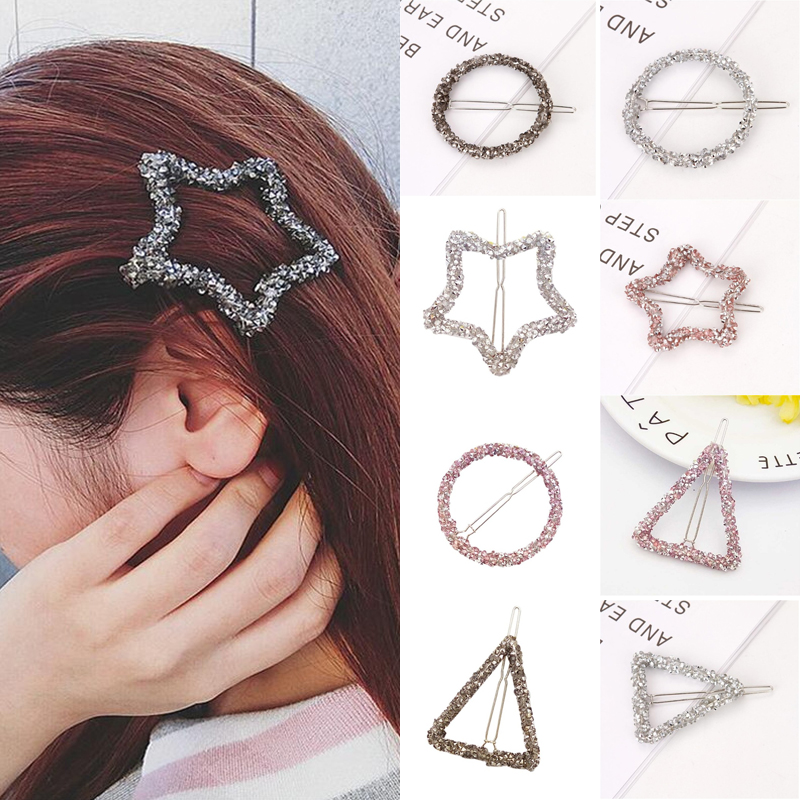 Korean Crystal Rhinestones Hairpins Star Triangle Round Shape Women Hair Clips Barrettes Silver Black Pink Cute Hair Accessories