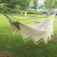 Pure Cotton Hammock Macrame 2 Person Swing Bed Garden Outdoor Hanging Chair New with stroage bag