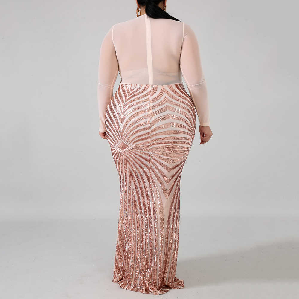2019 Plus Size Sequins Sexy Dress Women Sheer Mesh Patchwork Long Sleeve Bodycon Elegant Mermaid Long Evening Party Dress Maxi