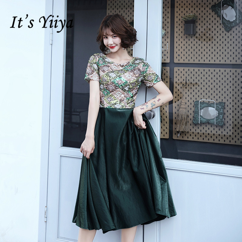 It's Yiiya Prom Dresses Elegant O-neck Sequins Green Vestidos De Gala Plus Size Zipper Tea Length Dress Women Party Night LF132