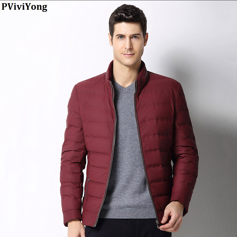 PViviYong 2019 Winter High Quality 90% White Duck Down Jacket Mandarin Collar Brief Paragraph Zipper Coat Men 1690