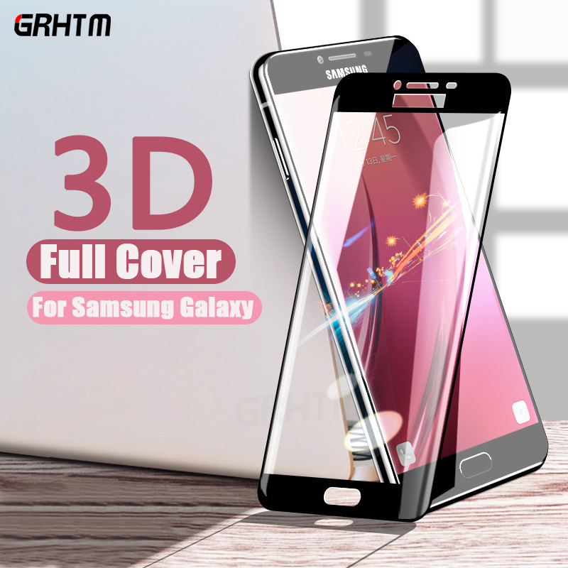 3D Full Cover Tempered Glass For Samsung <font><b>Galaxy</b></font> A7 A3 <font><b>A5</b></font> 2017 2016 on the for S7 S6 A7 A8 A6 <font><b>A5</b></font> <font><b>2018</b></font> <font><b>Screen</b></font> Protector Glass Film image