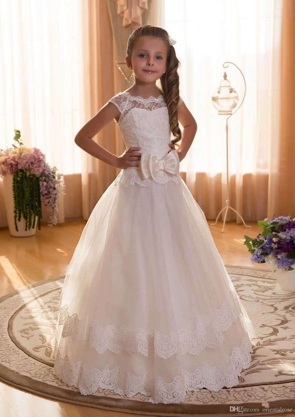 Cute 2019   Flower     Girl     Dresses   For Weddings Ball Gown Cap Sleeves Tulle Appliques Bow Long First Communion   Dresses   Little   Girl