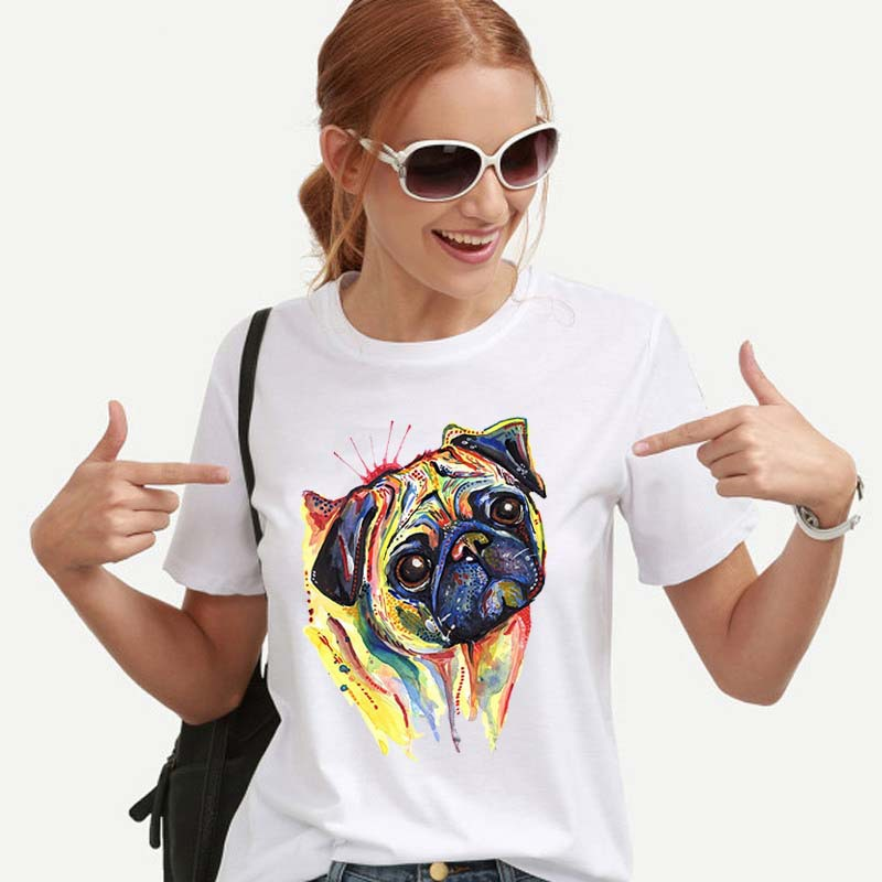 <font><b>Funny</b></font> <font><b>T</b></font> <font><b>Shirt</b></font> <font><b>Women</b></font> Short Sleeve White Harajuku Top Cute French Bulldog <font><b>T</b></font>-<font><b>shirt</b></font> image