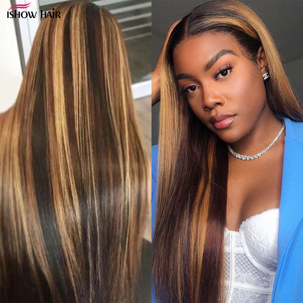 Ishow Highlight Wig Brown Colored Human Hair Wigs 13X4 13X6x1 Ombre Straight Lace Front Wig Highlight Lace Front Human Hair Wigs 5