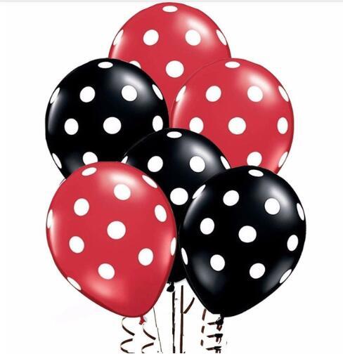 12 шт./лот, белый, черный, красный латексный шар с божьей коровкой, в горошек, для детского душа, для дня рождения, свадьбы, вечерние украшения