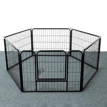 6 Pieces Folding Door With Black Door Adjustable Mobile Pet Fence Puppy Kennel House Exercise Training Safety Fence HWC