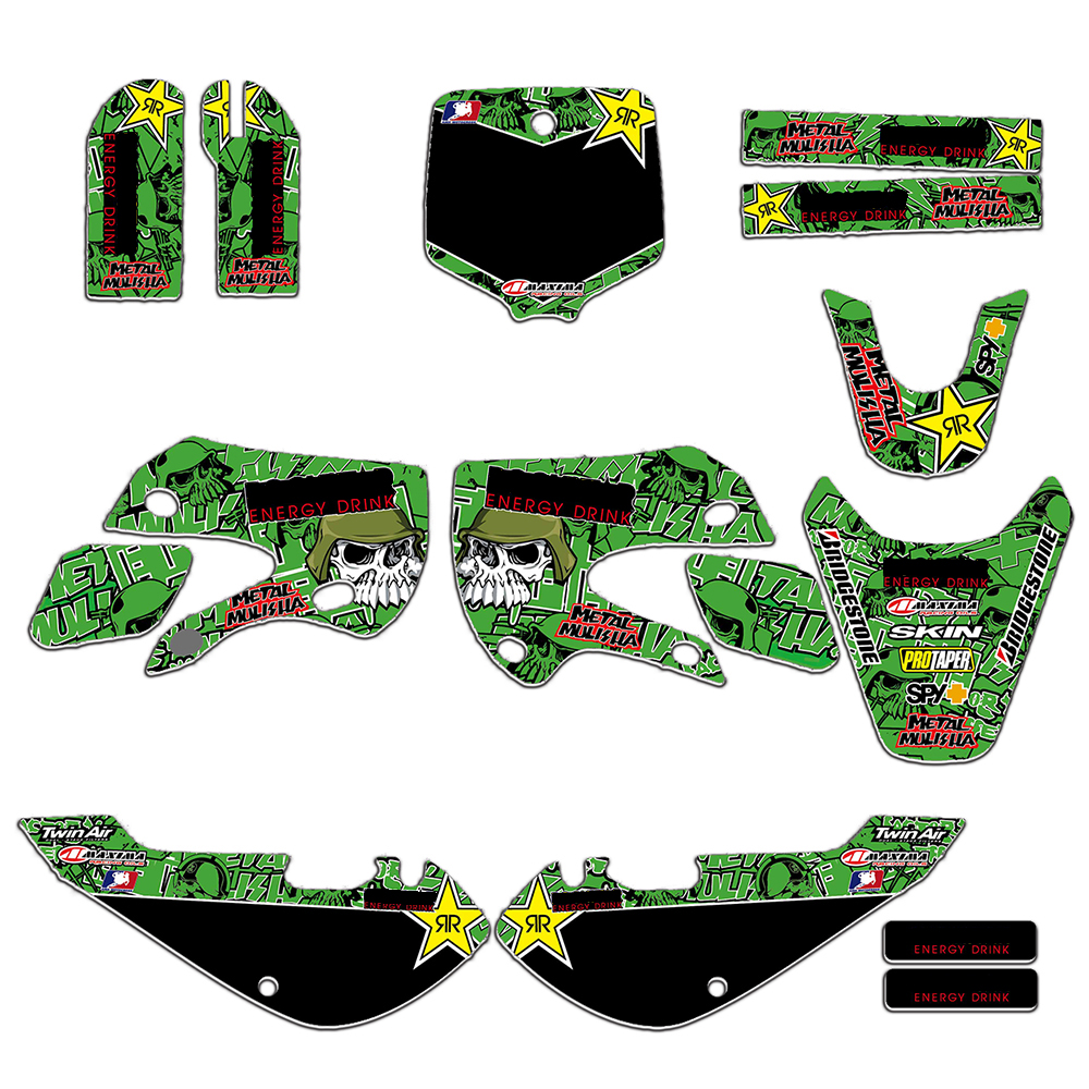 New Style TEAM GRAPHICS BACKGROUNDS DECAL STICKERS Kits For KAWASAKI KLX 110 65 Pit Dirt Bike