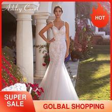 Ashley Carol Mermaid düğün elbisesi 2020 romantik sevgiliye boncuklu spagetti sapanlar Illusion geri gelin elbiseler Vestido De Novia