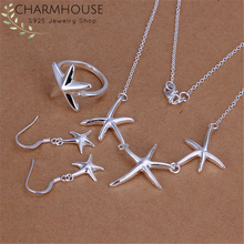 Charmhouse Silver 925 Jewelry Sets For Women Sea Star Earrings Bracelet Necklace Ring Costume Wedding Accessories Gifts