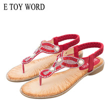 E TOY WORD Summer Women Sandals Bohemia Flip flop Flats String Bead Sexy Casual Beach 36-42 Female Gladiator