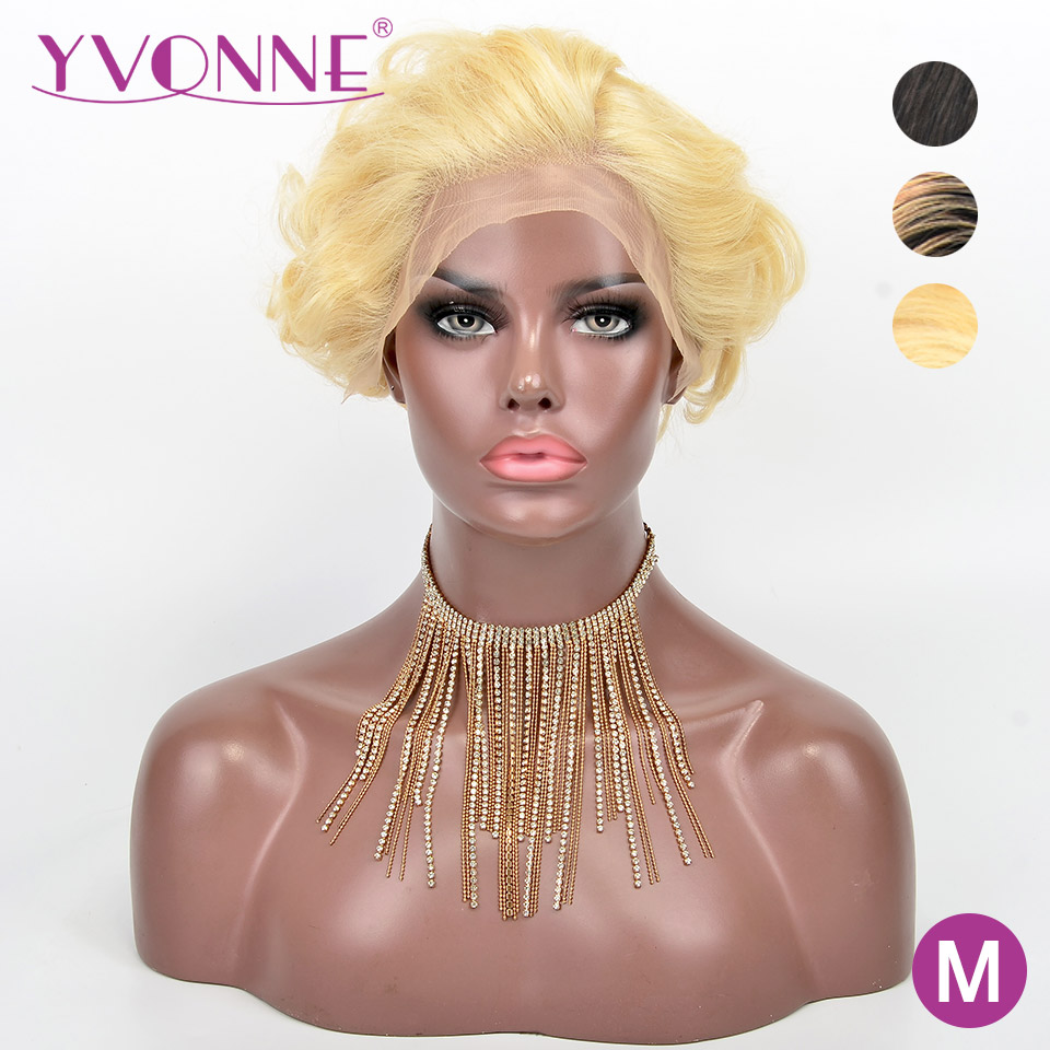 YVONNE Design 613 Wig Natural Color Ombre Short Pixie Cut Wigs Brazilian Remy Lace Front Human Hair Wigs image