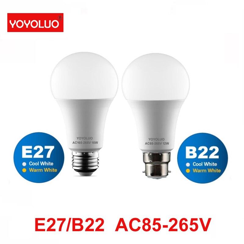 YOYOLUO светодиодный лампы B22 лампа лампада теплый белый шар светильник E27 15 Вт 12 Вт 9 Вт 7 Вт 5 Вт 3 Вт, холодный белый свет Bombill AC 110V 220V 240V
