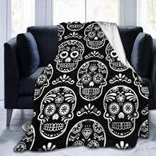 Mexican Sugar Skull Throw Blanket Super Soft for Living RoomHome Decor for Travel Funny Gift for Adults Kids