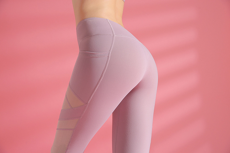 Mesh yoga pants with mesh in triangular patch design