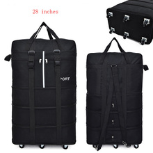 Largecapacity portable travel bag, rolling luggage, expandable aviation checkered bag, mobile rolling backpack, Oxford cloth bag