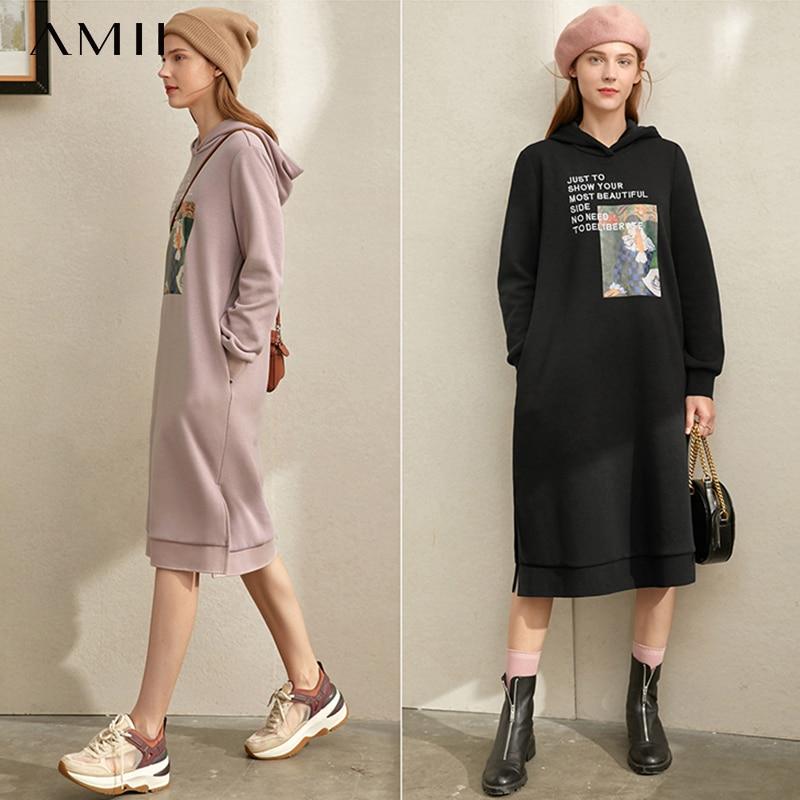 Amii Winter Women Printed Hoodies Dress Casual Female Embroidery Straight Sweatshirt Dresses 11920356