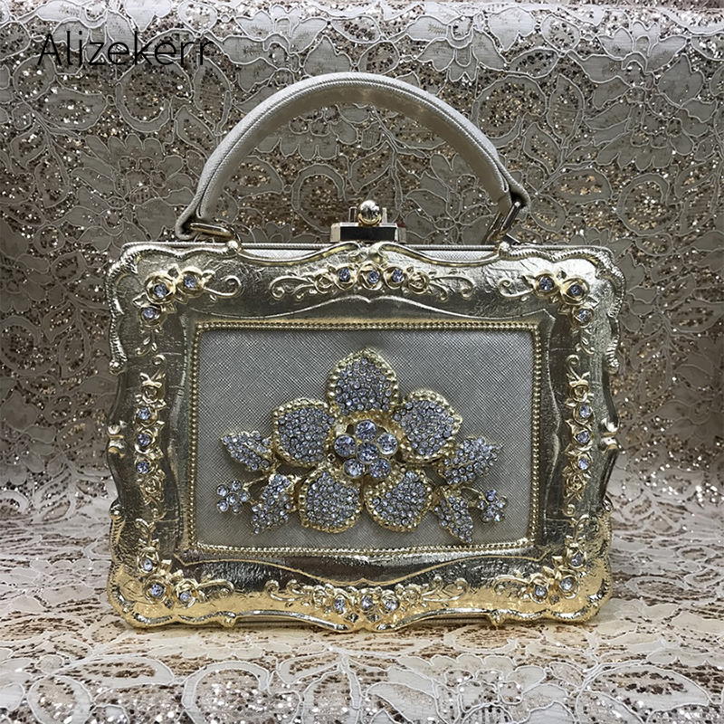 Crystal Diamond Box Evening Clutch Bag Women Luxury Embroidery Flowered Printing Dinner Purse Shoulder Bag Ladies Wedding Party