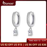 bamoer Hoop Earrings With Charm Solid Sterling Silver 925 High Quality CZ Wedding Jewelry Engagement Statement Brincos BSE157