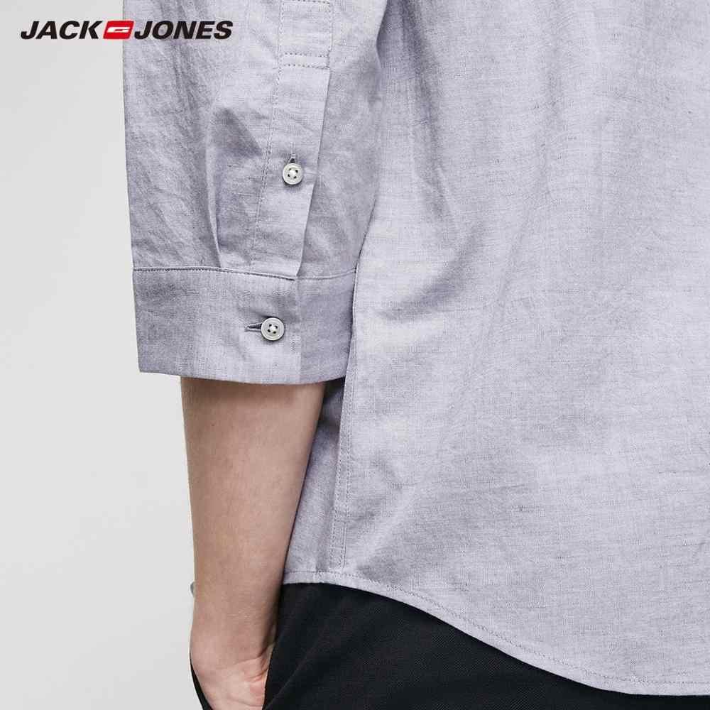 JackJones Мужская Весенняя льняная хлопковая контрастная Прямая рубашка с рукавами 3/4, стильная мужская одежда | 219231511
