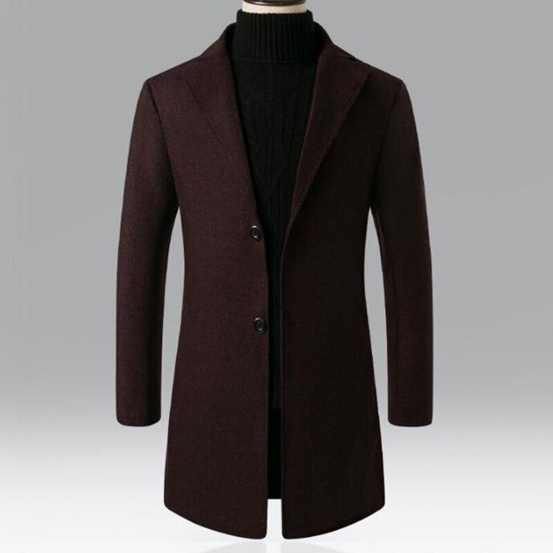 Men's Thick Wool Trench Coat Men Long Casual Coats Lapel Collar 2019 Autumn Winter Slim Overcoat