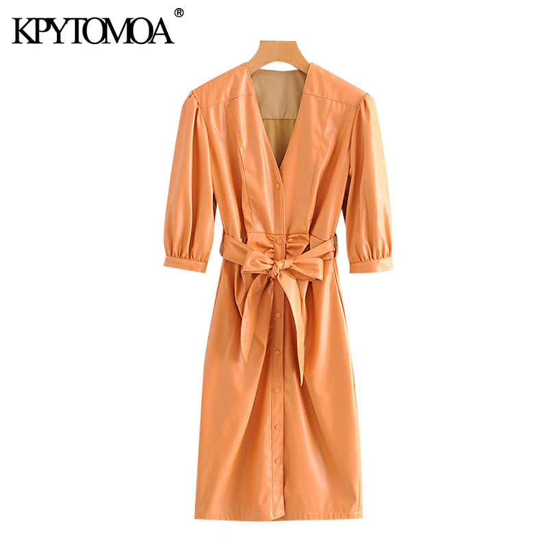 KPYTOMOA Women 2020 Chic Fashion With Belt Faux Leather Pleated Midi Dress Vintage Puff Sleeve Button-up Female Dresses Vestidos