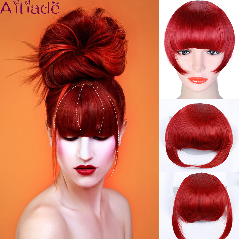 AILIADE Red Short Front Blunt Bangs Clip In Bang Fringe Hair Extensions Straight Synthetic Natural Fake Hairpiece