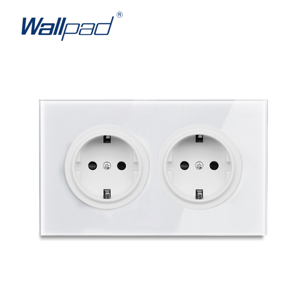 Wallpad L6 146 Type Double 2 Gang EU Plug Wall Socket German Dual Twin Power Outlet White Tempered Glass Panel 146*86mm