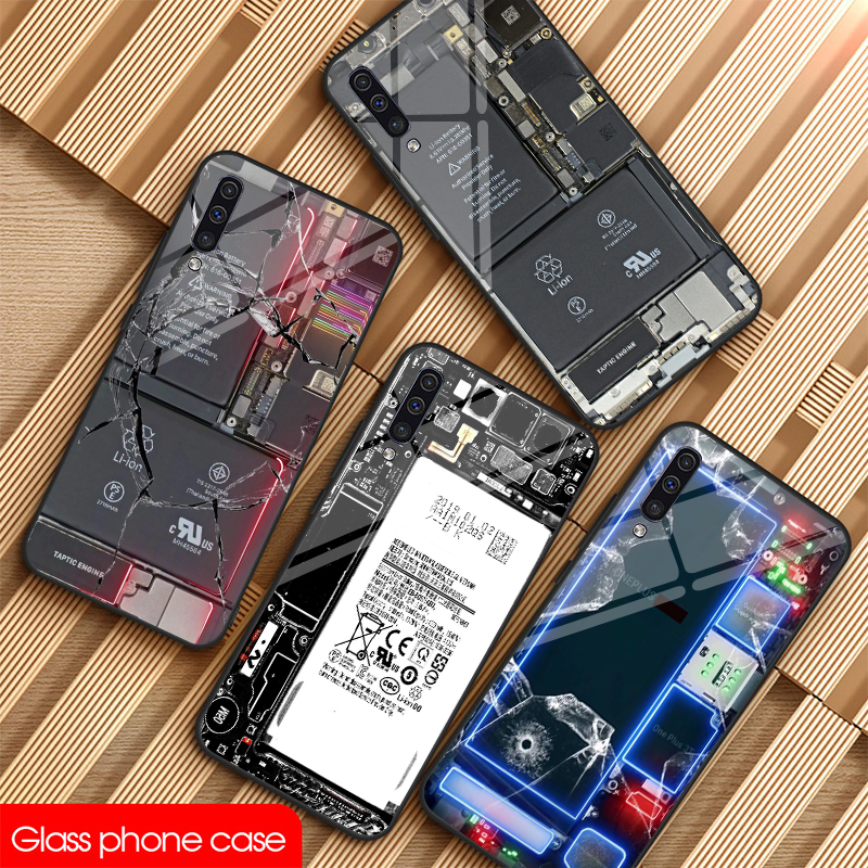 Unique transparent motherboard <font><b>glass</b></font> Phone For sumsung galaxy Note 8 9 10 Plus S8 S9 S10E Phone <font><b>Case</b></font> A10 20 30 40 50 60 <font><b>70</b></font> DIY image
