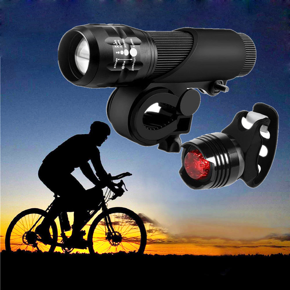 Bicycle Light Ultra Bright 2 LED Front Head Cycling Lamp with USB Cable Black