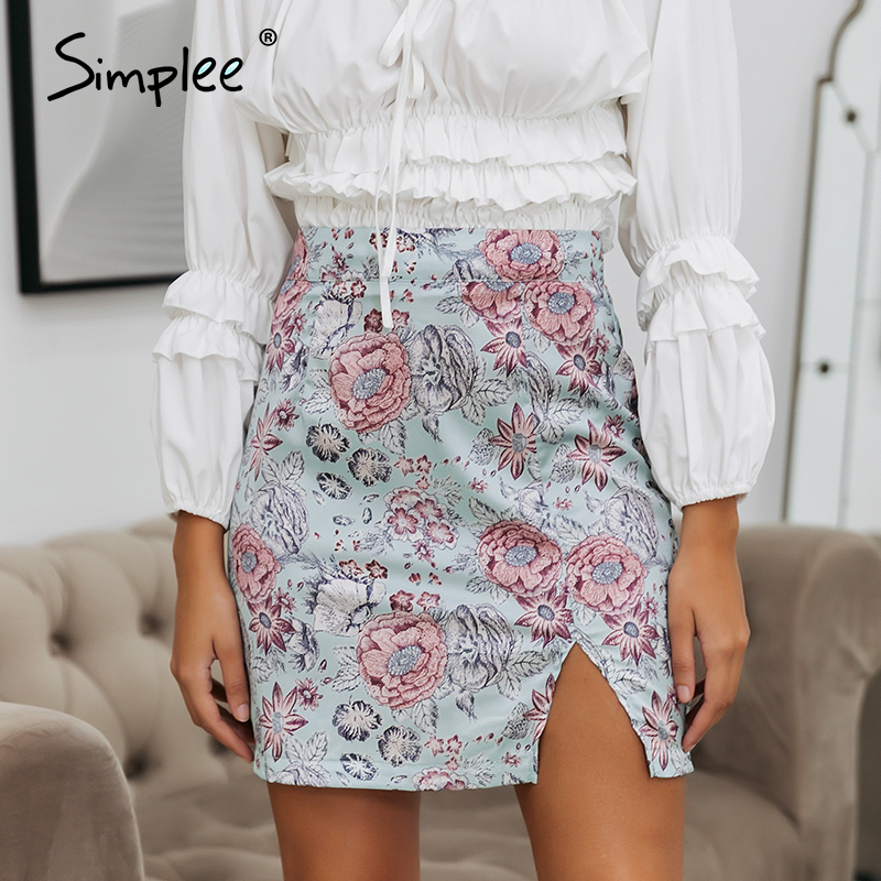 Simplee Floral print summer skirt women High waist bohemian female short mini skirts Sexy satin party wear bottom ladies skirt image
