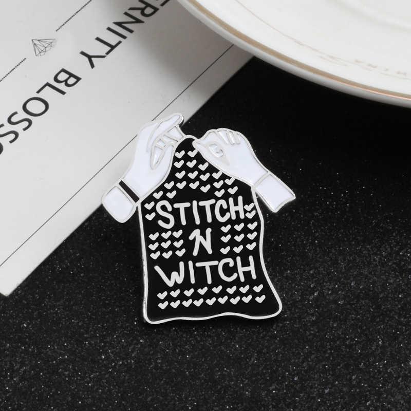 Przegrany Club emalia szpilki ścieg czarownica odznaki ona jest przebiegłe broszki Wizrd w treningu kapelusz sarkastyczny mówiąc przypinka biżuteria punkowa