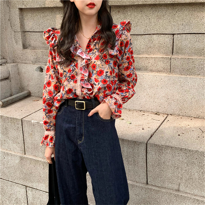 Alien Kitty 2020 Retro Stand Ruffles Feminine Casual Vintage Fashion Print-Floral Chic Loose Elegant Sweet All-Match Shirts