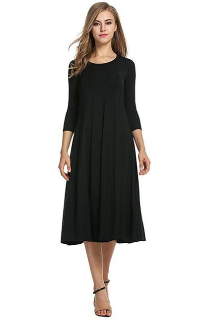 Oufisun Large Size Solid 3/4 Sleeve Women's Dress Casual Spring Pleated Maxi Dresses Elegant Simple Pocket Femlae Dress Vestidos