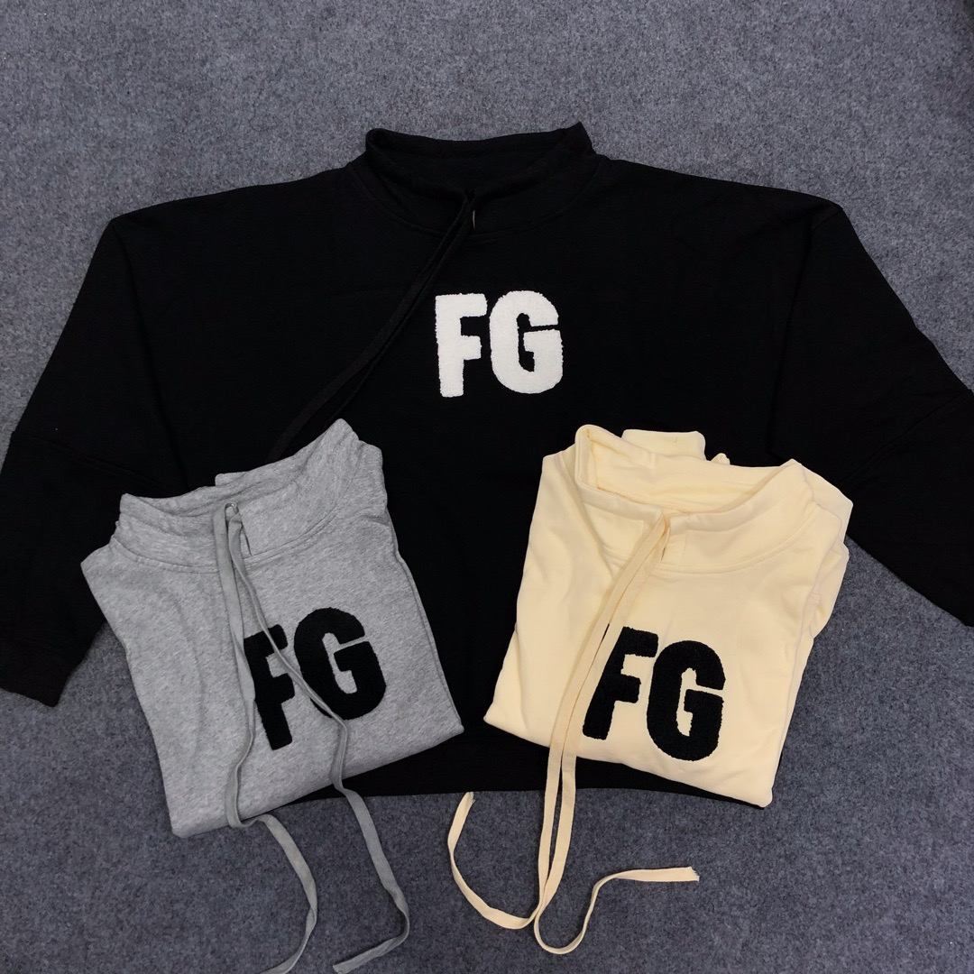 2019 Essentials FG Flocking Women Men Turtleneck Sweatshirt Hoodies Hiphop Streetwear Men Sweatshirt Pullover