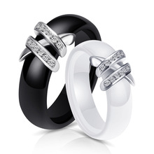 Explosion Ring Creative Hot Ceramic Couple Double X Diamond