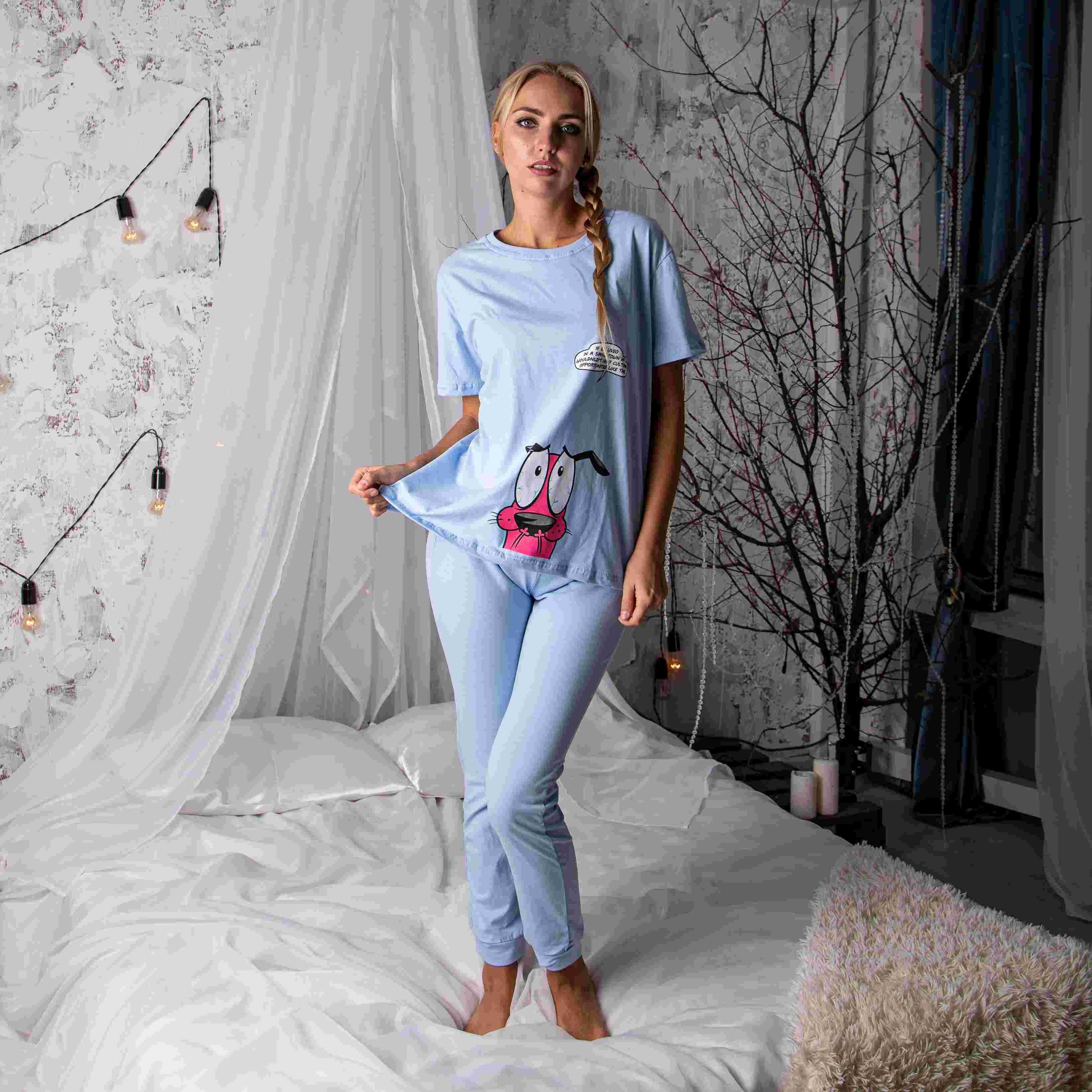 Atoff casa pijamas feminino zhp 030 (rosa/azul)
